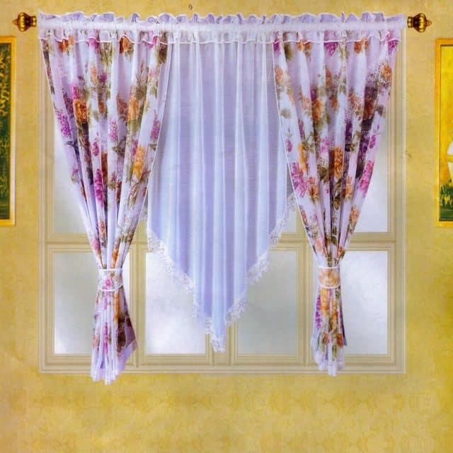 organza függöny választható virág mintákkal