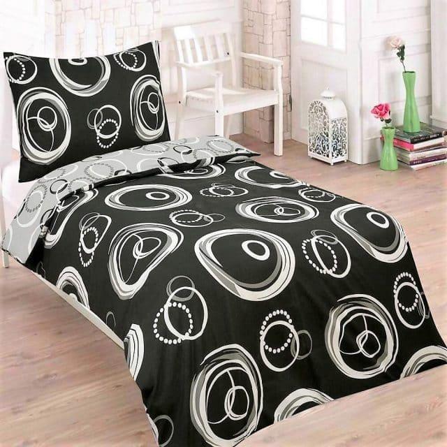 pamut ágynemű fekete fehér karikás minta
