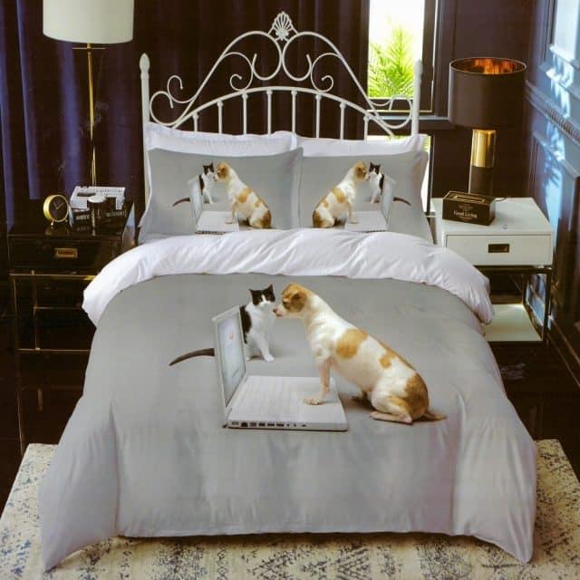 pamut ágynemű szürke színben kutyus és cica