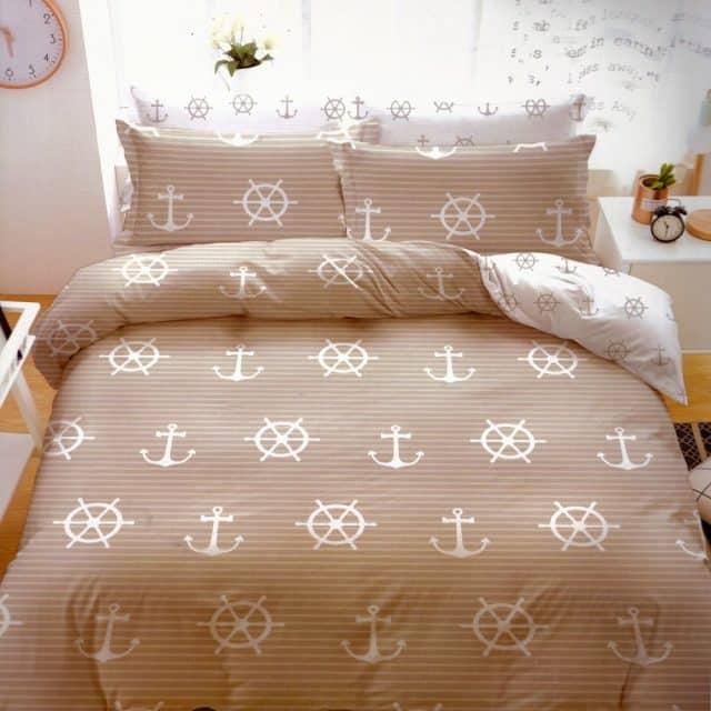 pamut ágyneműhuzat drapp színben horgony minta