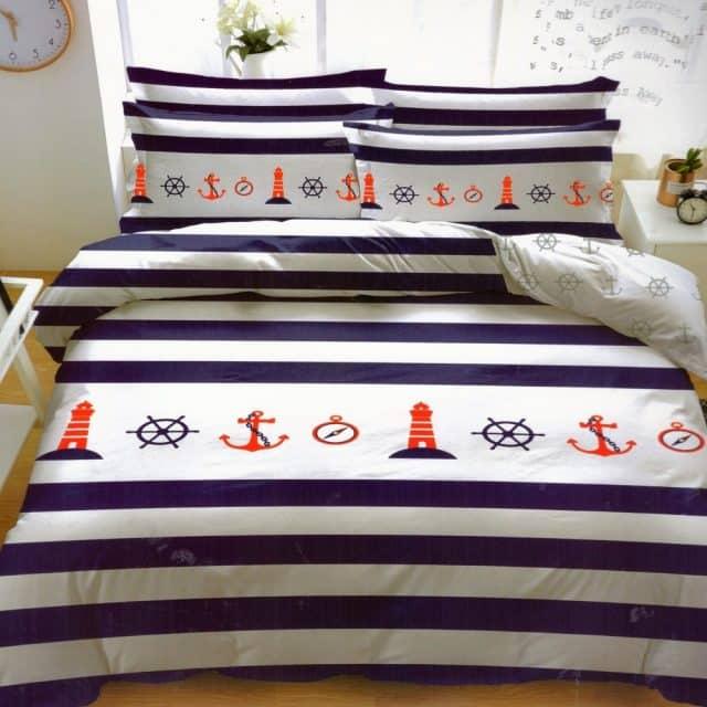 pamut ágyneműhuzat kék fehér csíkos horgony minta