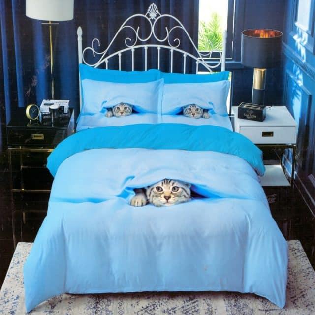 pamut ágyneműhuzat kék színben cica minta