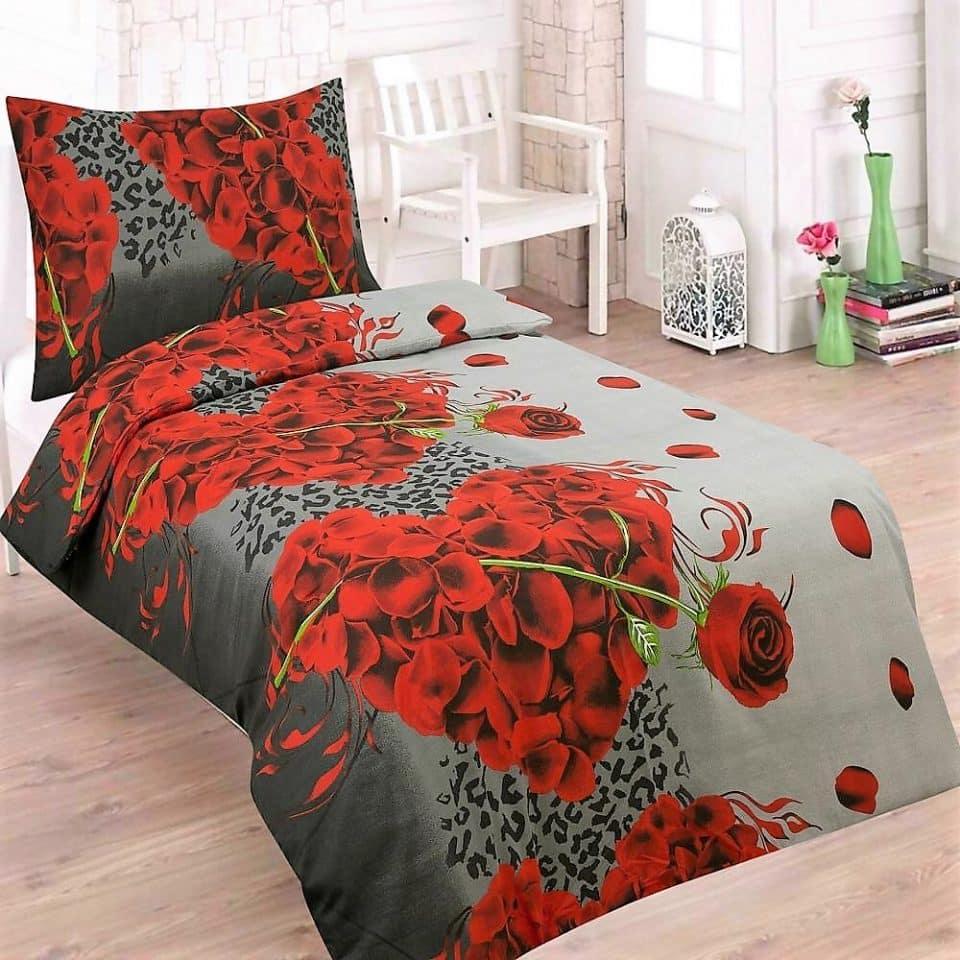 rózsa és szív mintás pamut ágyneműhuzat