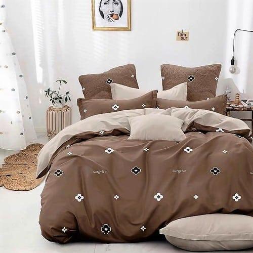 barna és bézs virágos pamut ágyneműhuzat