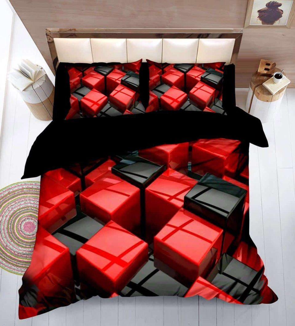 kockás pamut ágynemű fekete piros szín
