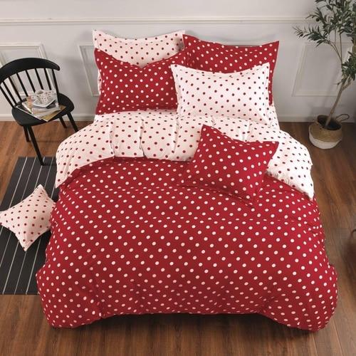 pamut ágyneműhuzat piros fehér színben pöttyök