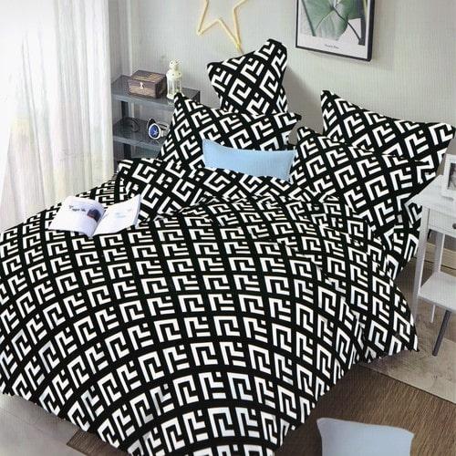 pamut hatású ágynemű fekete fehér színben