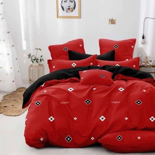 piros és fekete virágos pamut ágyneműhuzat