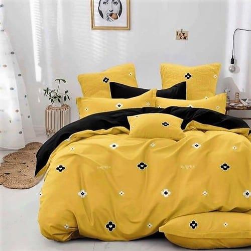 sárga és fekete virágos pamut ágyneműhuzat