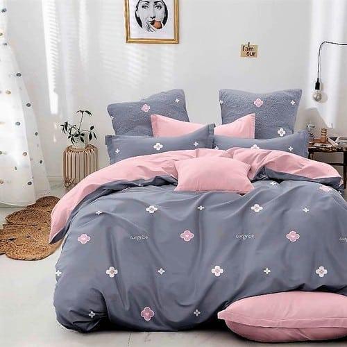 szürke és rózsaszín virágos pamut ágyneműhuzat