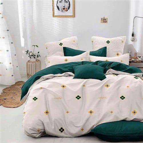 zöld és krém virágos pamut ágyneműhuzat