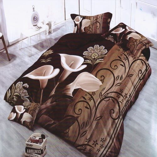 barna színben bézs virág pamut ágyneműhuzat