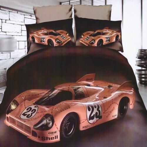 barna színben sportautó mintás pamut ágyneműhuzat