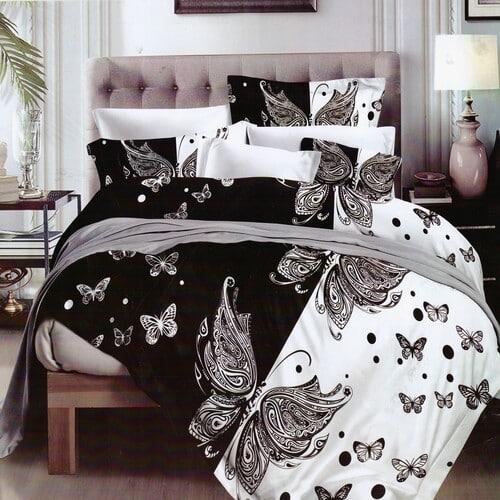 fekete fehér színben pillangós pamut ágyneműhuzat