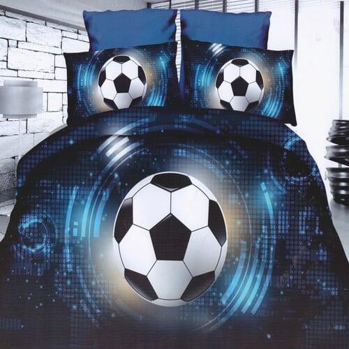 kék színben focilabda mintás pamut ágyneműhuzat
