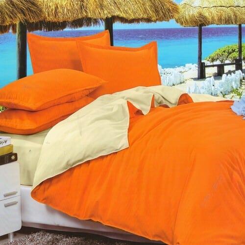 narancs és krém egyszínű pamut ágyneműhuzat