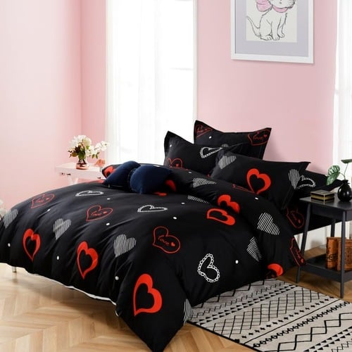 pamut ágyneműhuzat fekete színben piros szív