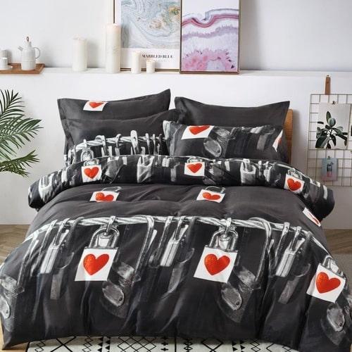 pamut ágyneműhuzat lakat piros szív mintával