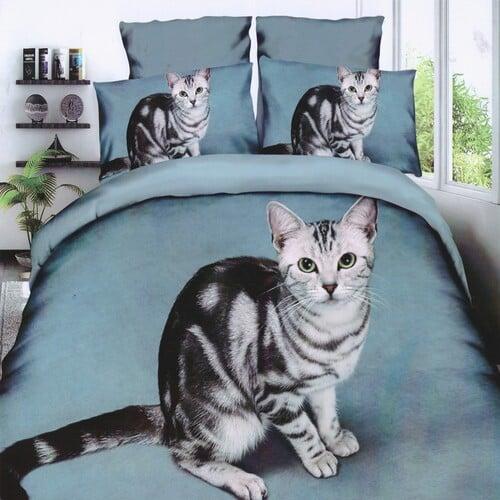 szürke cica mintás pamut ágyneműhuzat szett