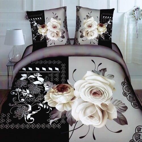 szürke fekete fehér rózsás pamut ágyneműhuzat