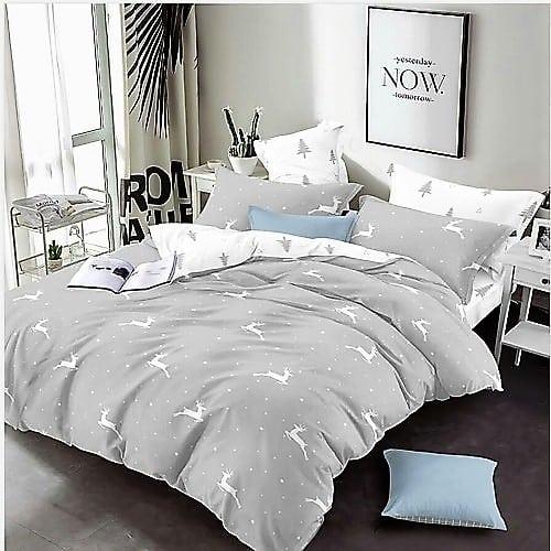 ezüst fehér szarvas mintás pamut ágyneműhuzat