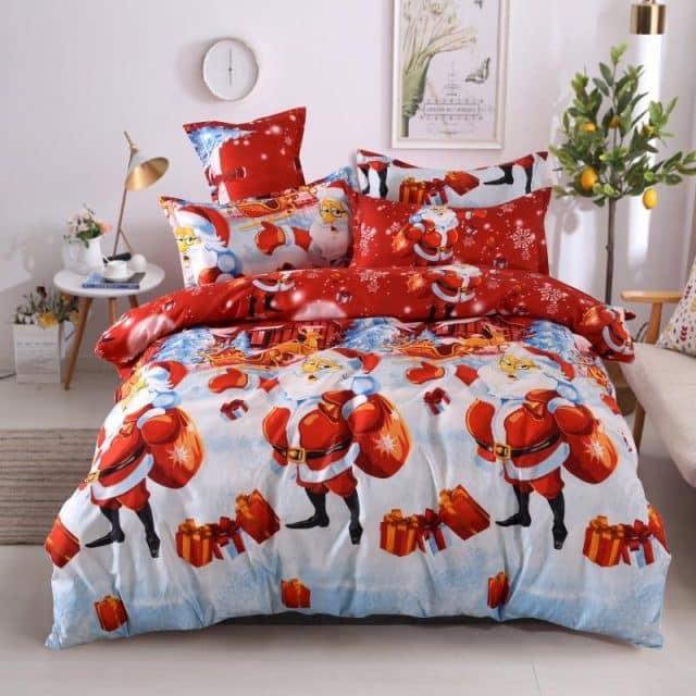 fehér piros színben karácsonyi minta pamut ágynemű