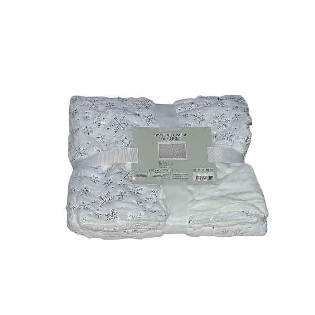 fehér színben ezüst hópehely puha takaró kis méret