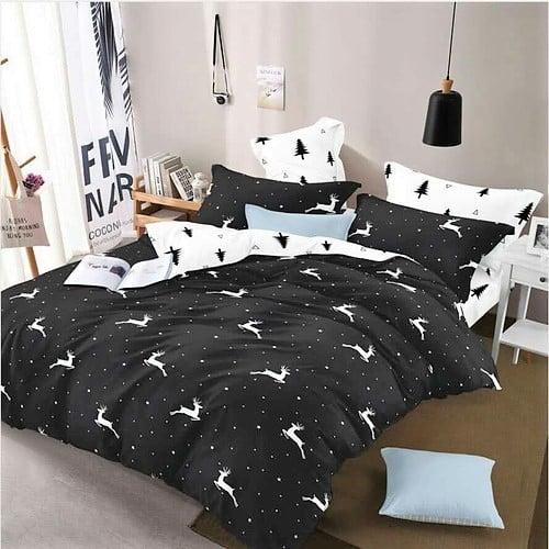fekete színben fehér szarvasok pamut ágyneműhuzat