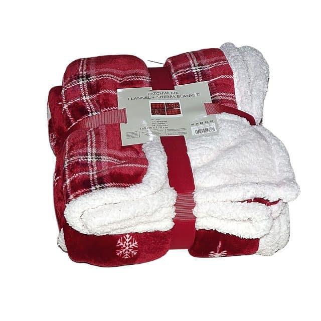 karácsonyi foltvarrás puha takaró kis méret piros szín