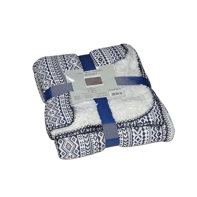 kék és fehér mintás puha takaró kis méret