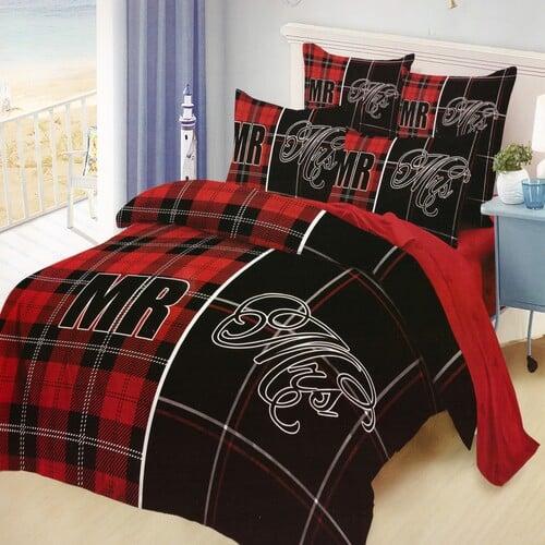 kockás fekete piros pamut ágynemű pároknak