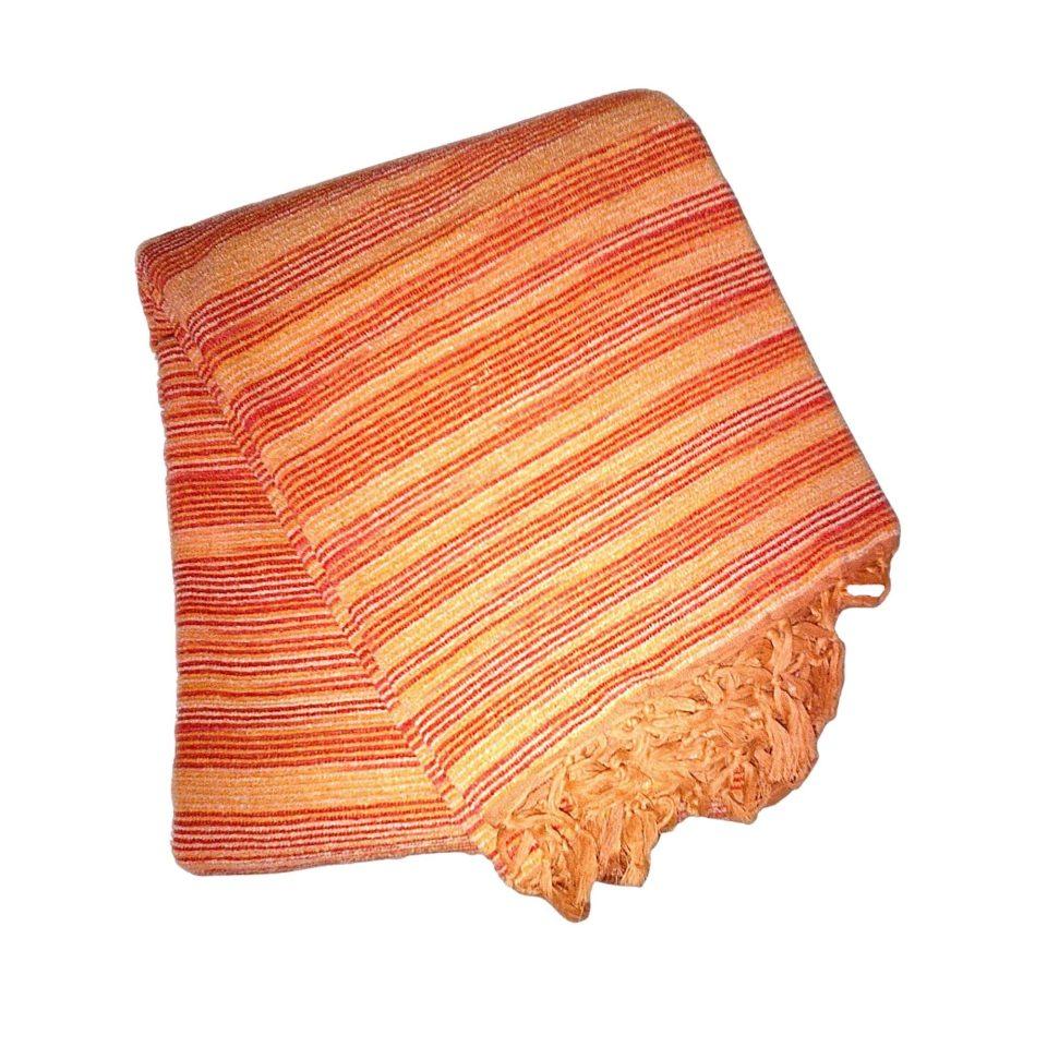 narancs csíkos kézzel készített indiai takaró