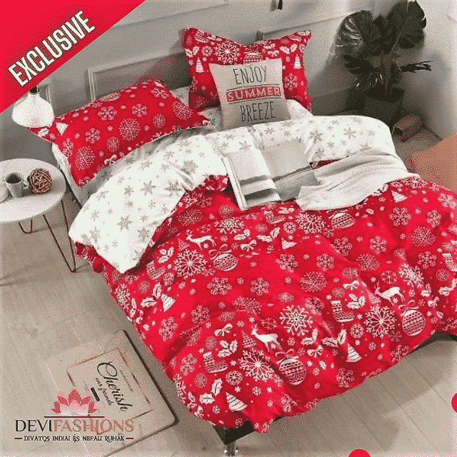 pamut ágynemű piros fehér karácsonyi mintával