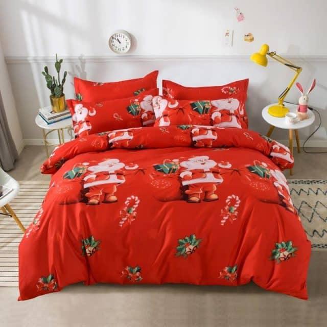 pamut ágynemű piros színben mikulás mintával