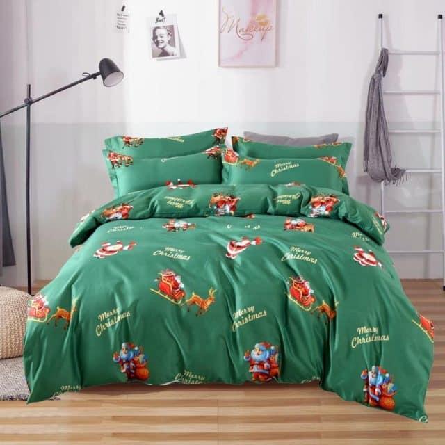 pamut ágynemű zöld színben mikulás mintával