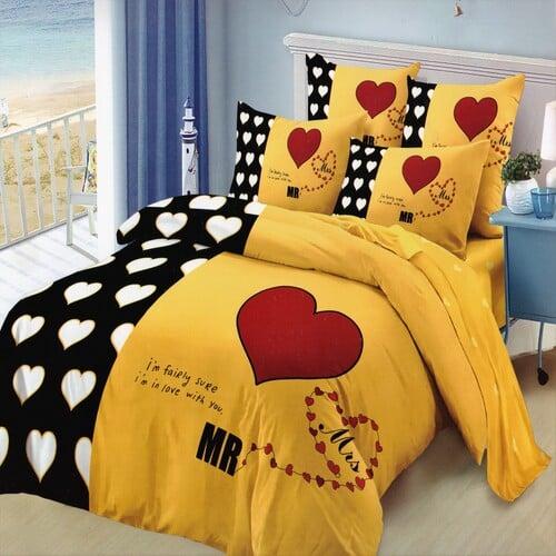 pamut szív mintás ágynemű fekete sárga