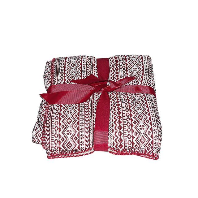 piros mintás fehér takaró kis méret