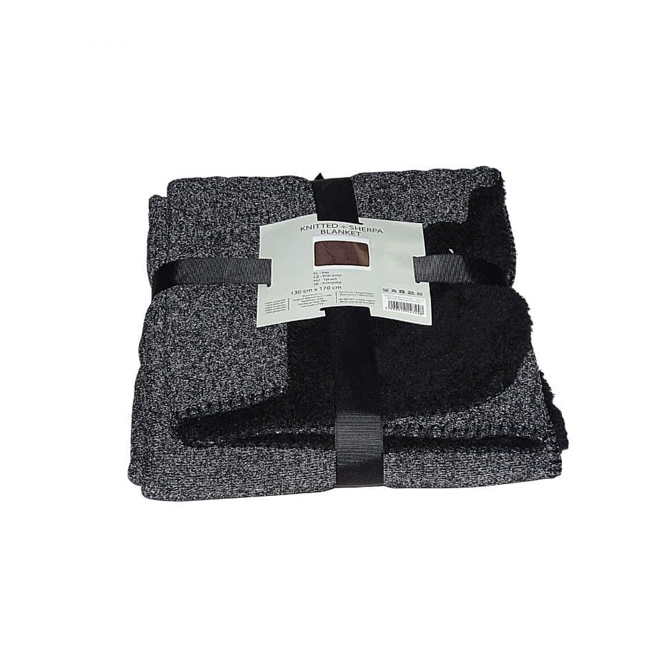 szürke fekete színben puha takaró pléd kis