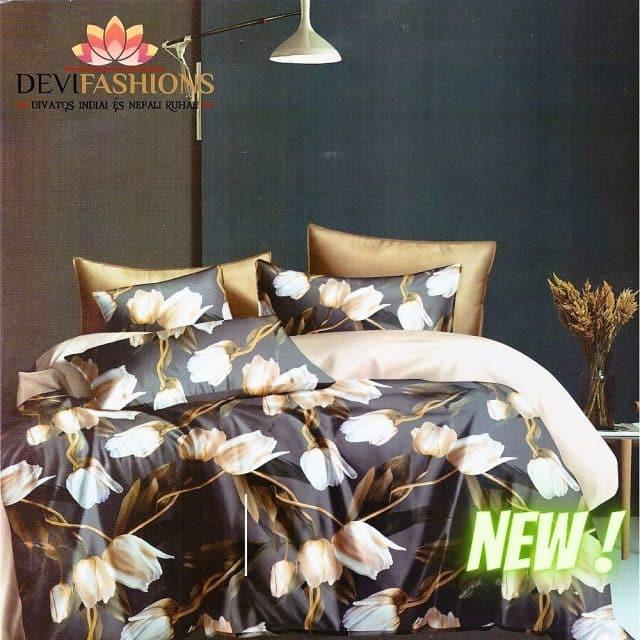 barna és krém színben pamut ágyneműhuzat