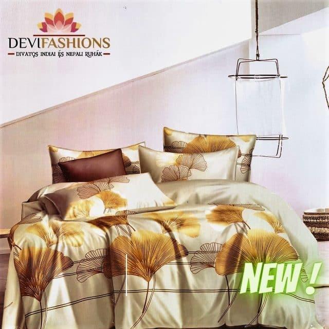 bézs és barna krém pamut ágyneműhuzat
