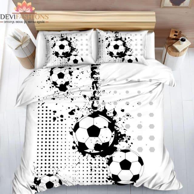 fekete fehér foci mintázat pamut ágynemű