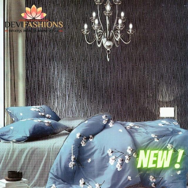 kék színben fehér virágokkal pamut ágynemű