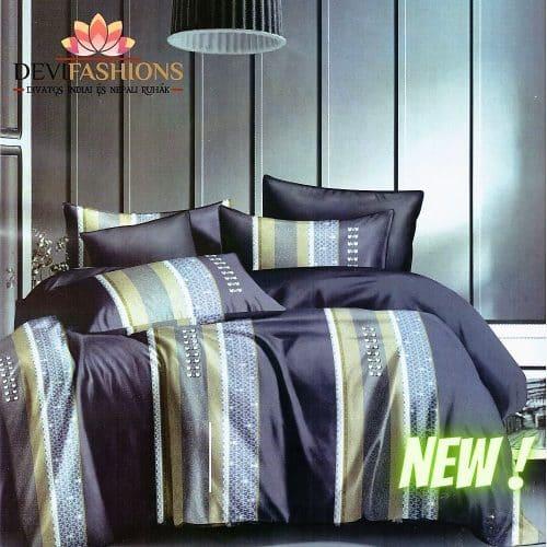 kék zöld arany csíkos pamut ágynemű