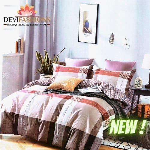 krém és barna csíkos pamut ágynemű