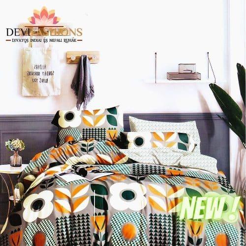 krém színben színes virágokkal pamut ágynemű