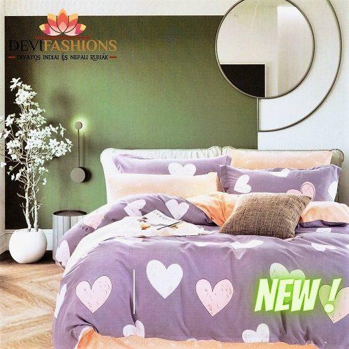 levendula színben szív minta pamut ágynemű