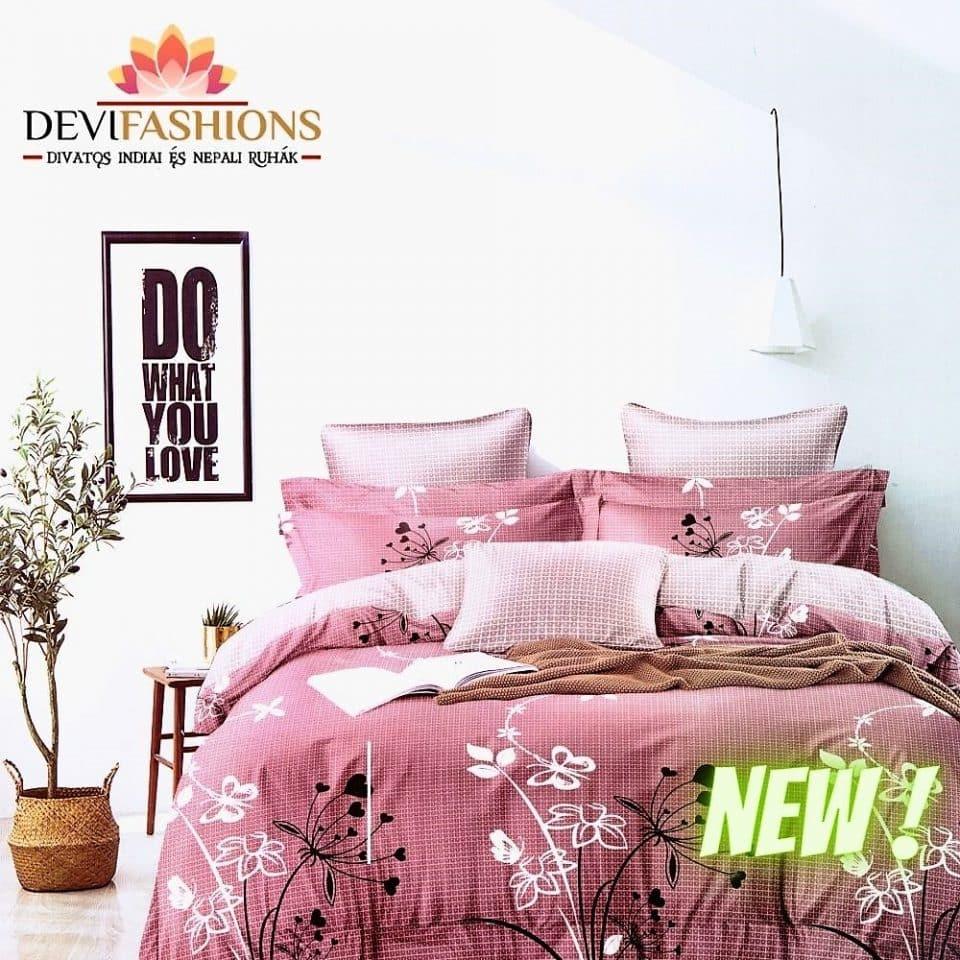 mályva színben pamut ágynemű rajzolt virágokkal