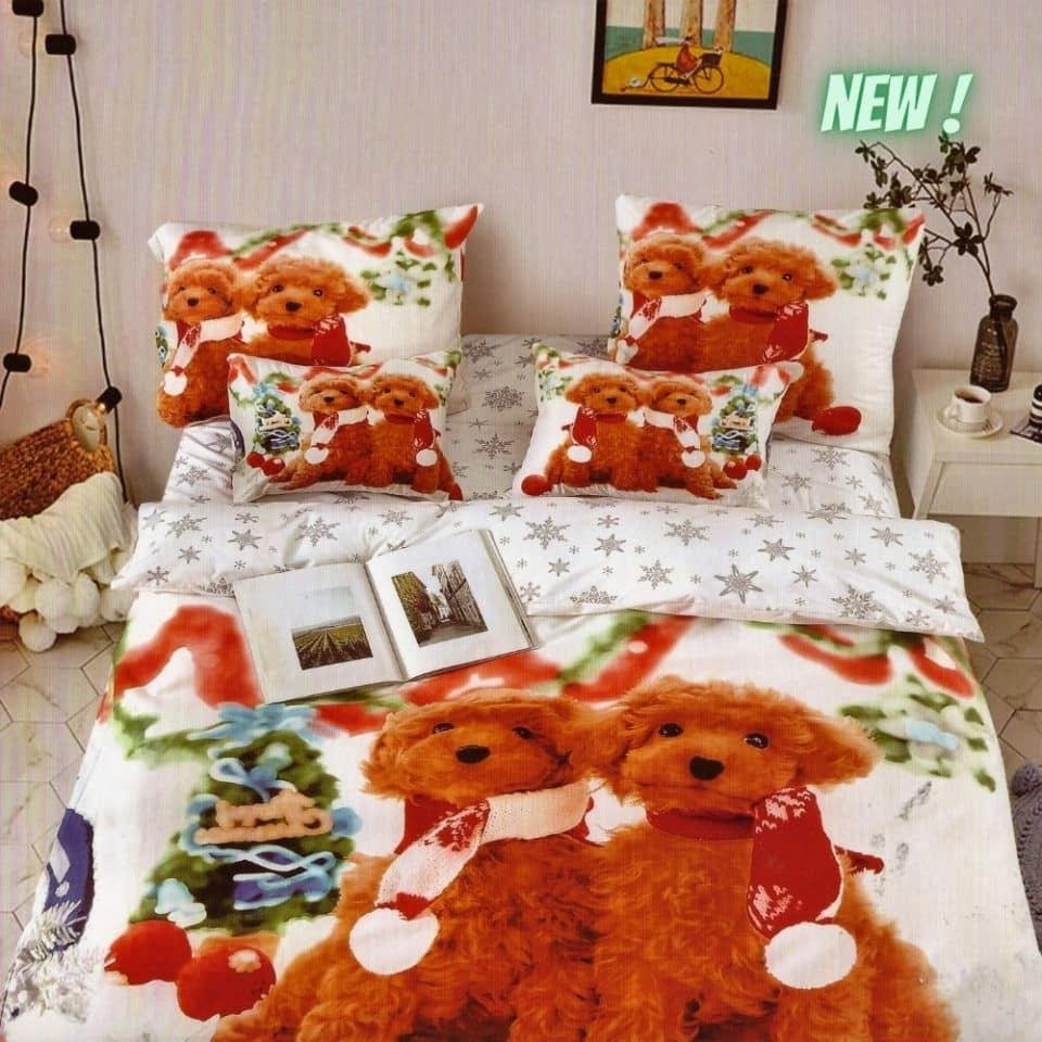 pamut ágynemű fehér karácsonyi kutyus mintával