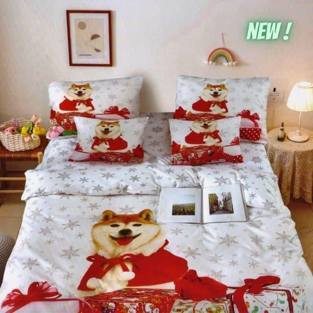 pamut ágynemű fehér színben kutyus mintával