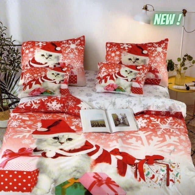 pamut karácsonyi ágynemű piros cica mintás